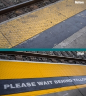 please stand behind the yellow line